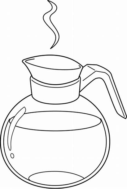 Pot Coffee Clipart Clip Line Pots Cartoon