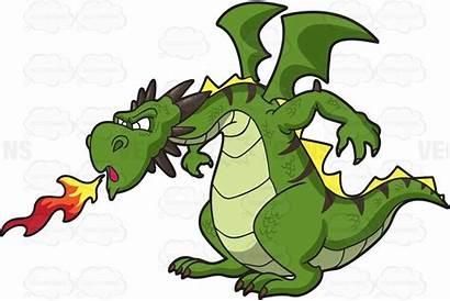 Dragon Clipart Fierce Fire Spitting Cartoon Medieval
