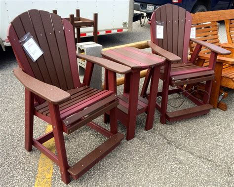 adirondack table and chairs poly adirondack counter height table and chair set amish