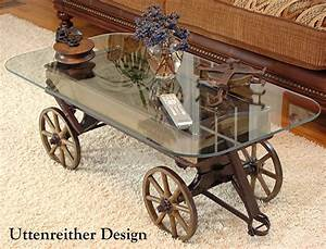 Antique wood wagon coffee table glass top display table for Rustic wagon coffee table
