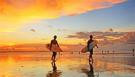 pantai kuta bali wisata pantai pasir putih  sunset
