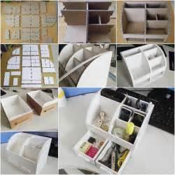 diy cardboard desktop organizer with drawers good home diy