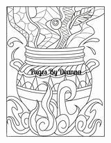 Cauldron Coloring Witch Witches Sketch Deanna sketch template