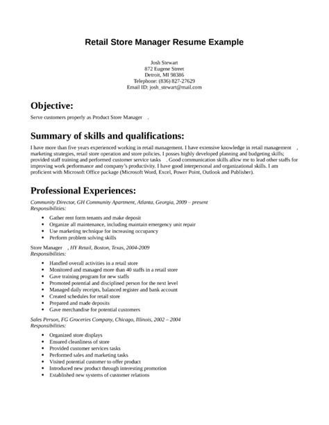 retail store manager resume sle 28 images resume sle