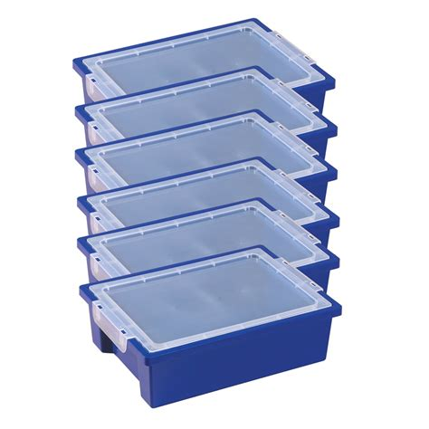 folding food tray small storage bins with lid blue set of 6