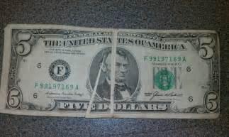 Misprinted 5 Dollar Bill