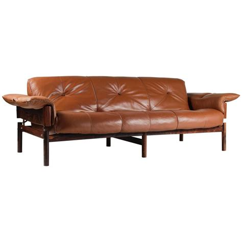 mid century brazilian sofa in brown leather and rosewood