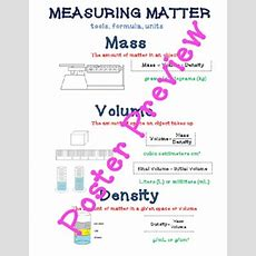 Measuring Matter (mass, Volume, Density) 16x20 Anchor Chart By Sandy's Science