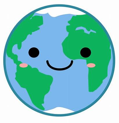 Earth Kawaii Clipart Planet Happy Vector Transparent