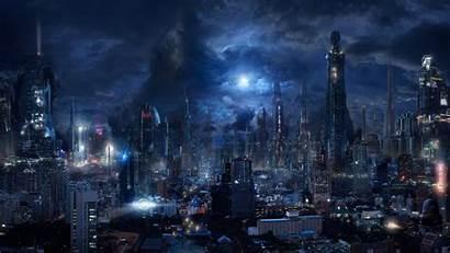 Sci Fi Futuristic Dark Night Flying Vehicles