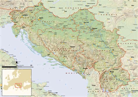 large detailed political map  yugoslavia  relief