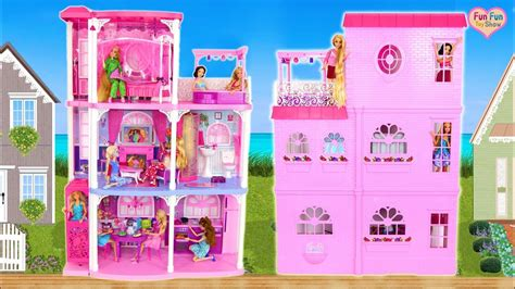 barbie 3 story dream town house unboxing rumah boneka barbie puppenhaus youtube