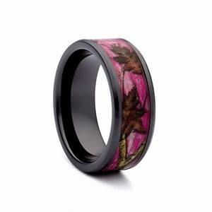 Pink camo wedding rings black ceramic band by 1 camo for Pink camo wedding ring