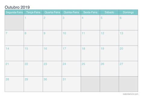 calendario outubro imprimir icalendariobrcom