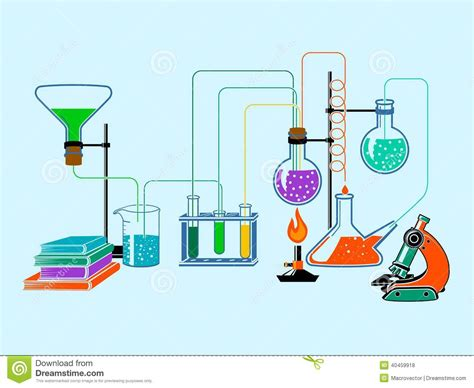 Scientific Laboratory Flat Background Stock Vector