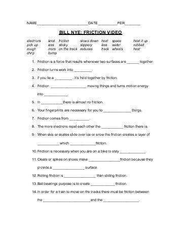 Bill Nye Motion Worksheet Homeschooldressagecom