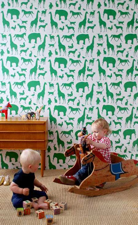 Ferm Living Animal Farm Wallpaper - enhance your room with the animal farm wallpaper