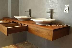 Console Salle De Bain : plan vasque en teck sur mesure plan vasque en bois ~ Teatrodelosmanantiales.com Idées de Décoration