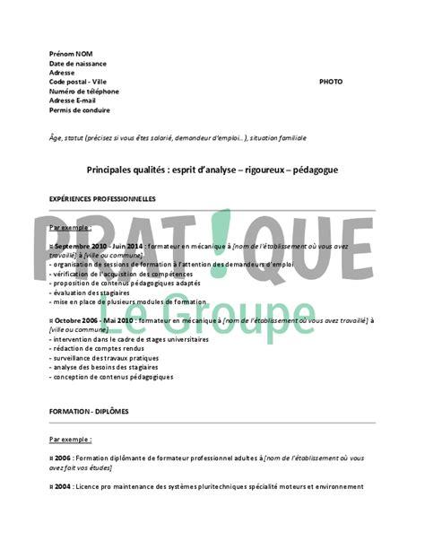 emploi formateur cuisine modèle de cv pour un emploi de formateur en mécanique confirmé pratique fr
