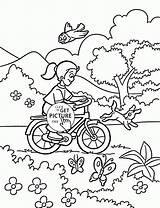 Coloring Pages Bicycle Spring Rides Bike Printables Riding Sheets Wuppsy Colouring Printable Winter Preschool Theme Nature Comments Season Scenery sketch template