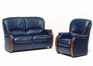 acheter votre canape fixe 2 places en cuir bleu avec With tapis exterieur avec canapé cuir relax 2 places