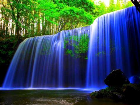 glowing blue waterfall wallpaper hd wallpaper