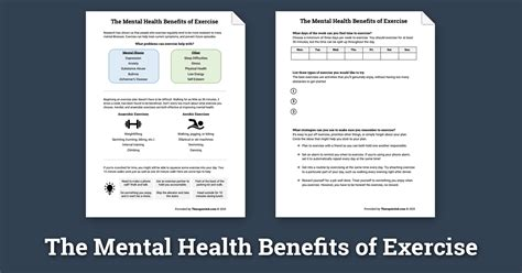 mental health benefits  exercise worksheet therapist aid