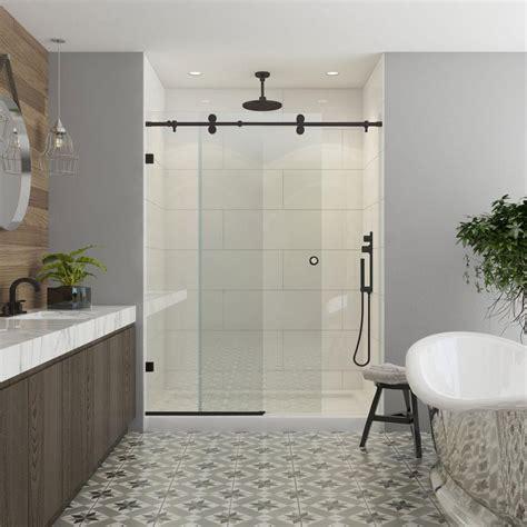 contractors wardrobe model 8800 48 in x 76 in frameless sliding shower door in bronze with
