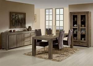 Table de salle à manger contemporaine extensible en bois massif coloris gris brumeux Kalija