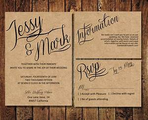 rustic wedding invitation suite kraft paper calligraphy With all in one wedding invitations reviews