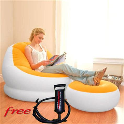buy intex inflatable comfy velvet sofa chair with stool