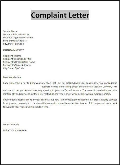 complaint letter template important forms business