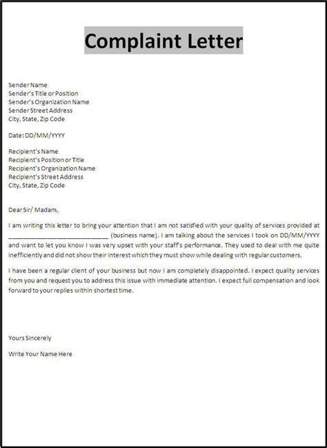 complaint letter template important forms business
