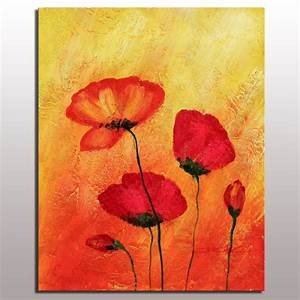 Popular red flower art painting home decoration red color ...