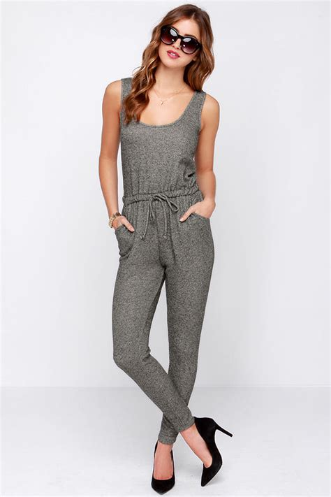 lulus jumpsuit chic grey jumpsuit terry knit jumpsuit sleeveless