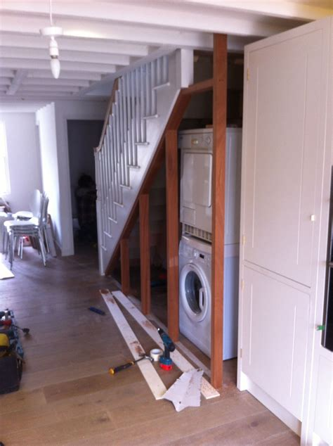 Tumble Dryer In Cupboard by Washing Machine Stairs Lake House Remodel