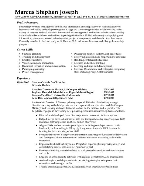 Exle Of Resume Summary by Professional Resume Summary Statement Exles Writing