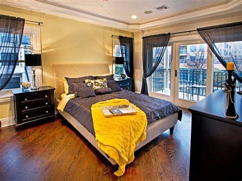 black  yellow bedroom  balcony hgtv