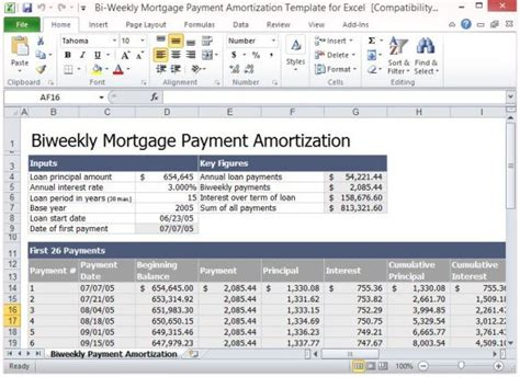 bi weekly mortgage payment amortization template  excel