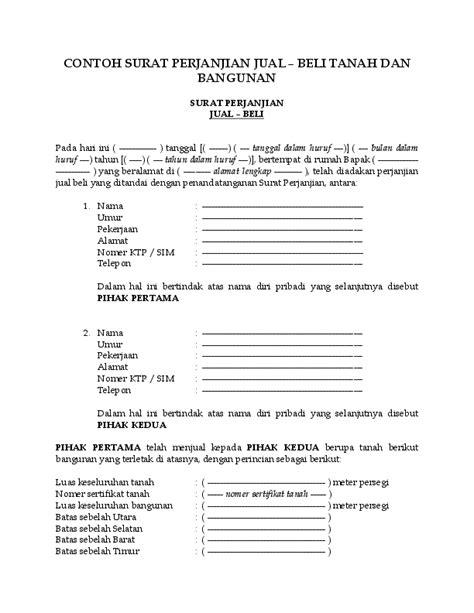 Contoh surat jual beli tanah sawah. (DOC) CONTOH SURAT PERJANJIAN JUAL - BELI TANAH DAN BANGUNAN   Jual Baju Murah Jakarta ...