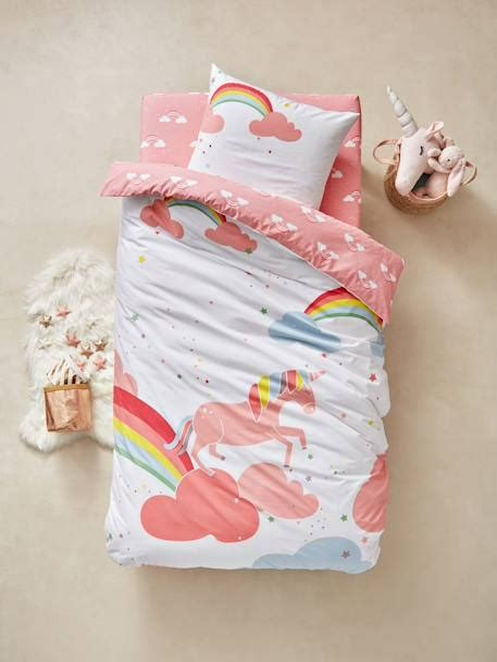 parure de lit licorne parure housse de couette taie d oreiller enfant licorne vertbaudet