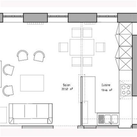 plan de maison avec cuisine ouverte cuisine ouverte sur le salon 1 de lespace zoom avec