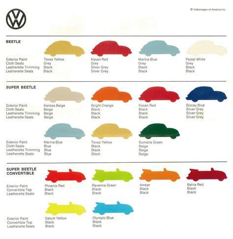 vw beetle color sheet 1973 volkswagen of america via