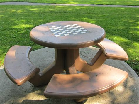 chess picnic table outdoor chess and