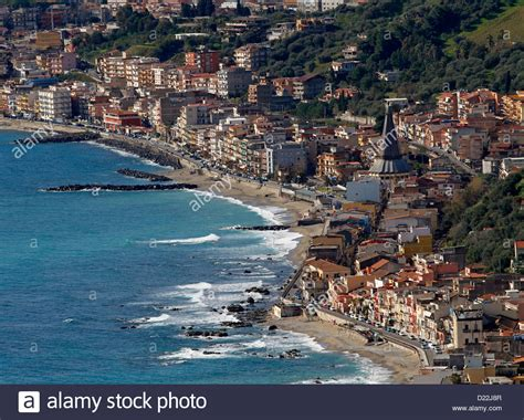 Taormina Giardini Naxos by Giardini Naxos Viewed From Taormina Sicily Italy Stock