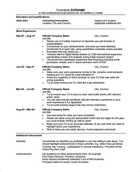 Professional Resume Cv Template by Sle Professional Cv 8 Free Documents In Pdf Word
