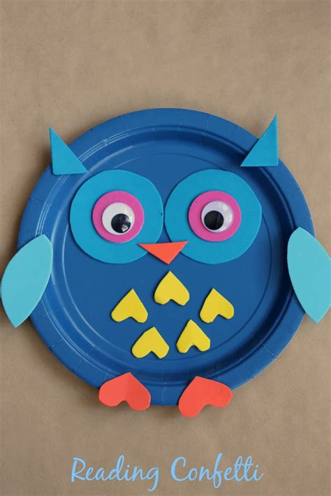 paper plate owl craft reading confetti