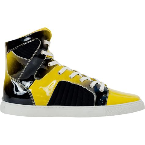 drake sun yellow patent leather high top sneakers paolo