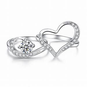 stainless steel cubic zirconia round cut heart shape With heart shaped wedding rings for women