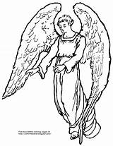 Angel Coloring Pages Guardian Wings Christmas Bible Sheets Giant Robe Printable Getcolorings sketch template